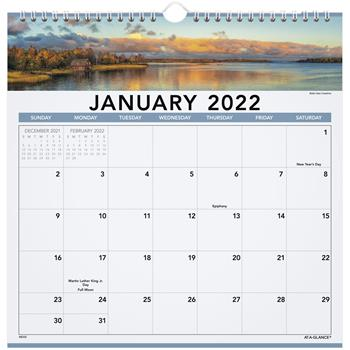 """AT-A-GLANCE® Landscape Monthly Wall Calendar, 12"""" x 12"""", 2022"""