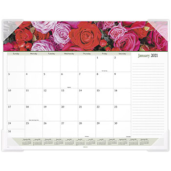 "AT-A-GLANCE® Floral Panoramic Desk Pad Calendar, 22"" x 17"", Floral, 2021"
