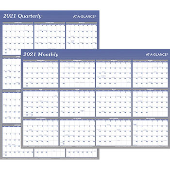 """AT-A-GLANCE® Vertical/Horizontal Erasable Wall Planner, 24"""" x 36"""", 2021"""