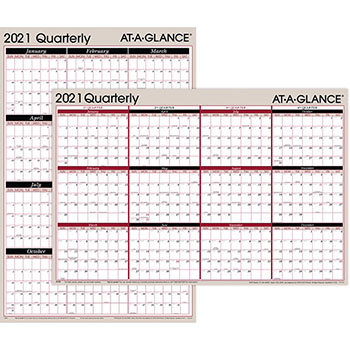 """AT-A-GLANCE® Vertical/Horizontal Erasable Quarterly Wall Planner, 24"""" x 36"""", 2021"""