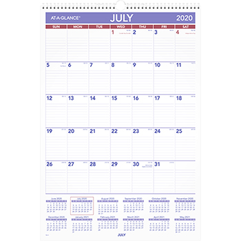 AT-A-GLANCE® Monthly Wall Calendar with Ruled Daily Blocks, 15 1/2 x 22 3/4, White, 2020-2021
