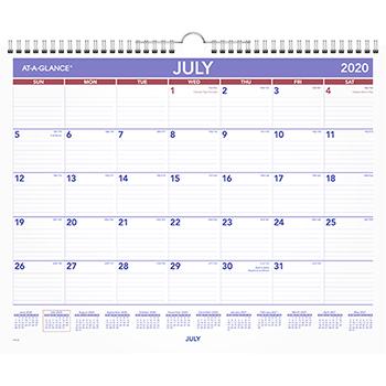 "AT-A-GLANCE® Academic Monthly Wall Calendar, 12 Months, July Start, 15"" x 12"", Wirebound, 2021-2022"