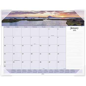 """AT-A-GLANCE® Images of the Sea Monthly Desk Pad Calendar, 22"""" x 17"""", 2021"""