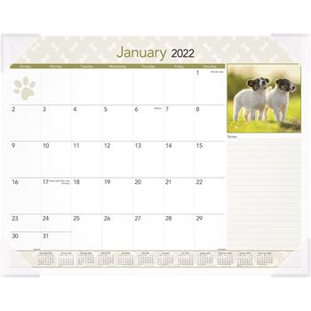 """AT-A-GLANCE® Puppies Monthly Desk Pad Calendar, 22"""" x 17"""", 2022"""