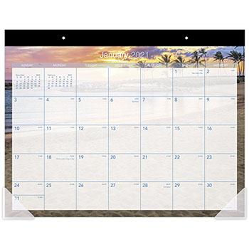 "AT-A-GLANCE® Tropical Escape Desk Pad, 22"" x 17"", 2021"