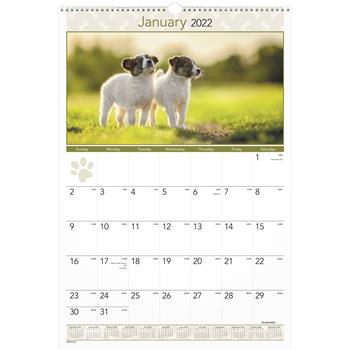 """AT-A-GLANCE® Puppies Monthly Wall Calendar, 15 1/2"""" x 22 3/4"""", 2022"""