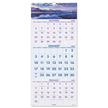 "AT-A-GLANCE® Scenic Three-Month Wall Calendar, 12"" x 27"", 2021-2022"