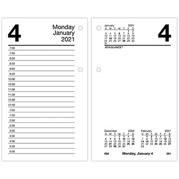 """AT-A-GLANCE® Recycled Desk Calendar Refill, 3 1/2"""" x 6"""", White, 2021"""