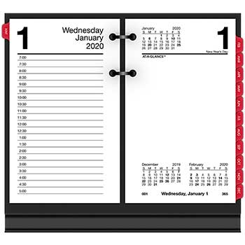 """AT-A-GLANCE® Desk Calendar Refill with Tabs, 3 1/2"""" x 6"""", White, 2021"""