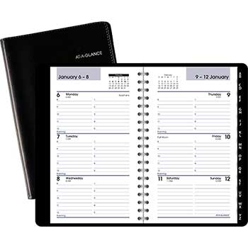 "AT-A-GLANCE® DayMinder® Weekly Pocket Appt Book, Phone/Address Tabs, 3 3/4"" x 6"", Black, 2021"