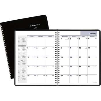 Monthly Planner, 6 7/8 x 8 3/4, Black, 2020