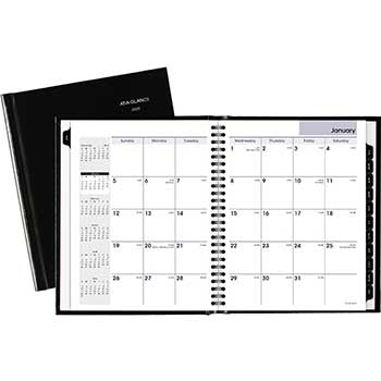 """AT-A-GLANCE® DayMinder® Hard-Cover Monthly Planner, 6 7/8"""" x 8 3/4"""", Black, 2021"""