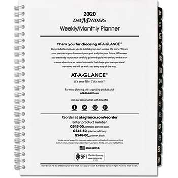 """AT-A-GLANCE® DayMinder® Executive Weekly/Monthly Refill, 6 7/8"""" x 8 3/4"""", 2021"""