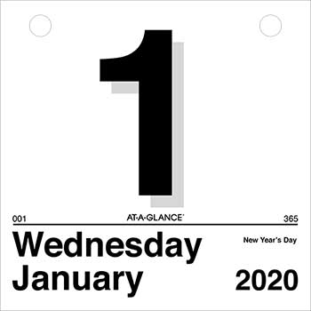 """AT-A-GLANCE® Today Is Daily Wall Calendar Refill, 6"""" x 6"""", White, 2021"""