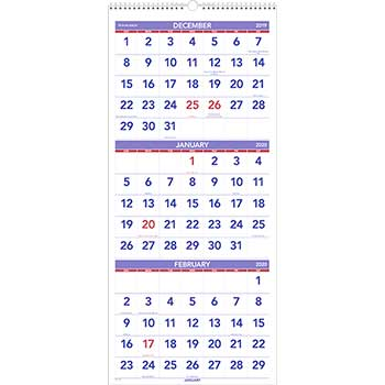 AT-A-GLANCE® Vertical-Format Three-Month Reference Wall Calendar, 12 1/4 x 27, 2020-2022