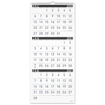 """AT-A-GLANCE® Contemporary Three-Monthly Reference Wall Calendar, 12"""" x 27 1/8"""", 2021-2022"""