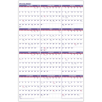 "AT-A-GLANCE® Yearly Wall Calendar, 24"" x 36"", 2021"
