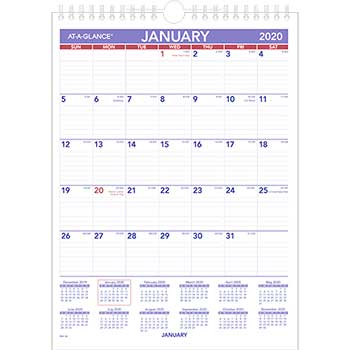 Monthly Wall Calendar with Ruled Daily Blocks, 8 x 11, White, 2020