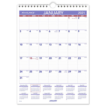 """Monthly Wall Calendar with Ruled Daily Blocks, 8"""" x 11"""", White, 2021"""