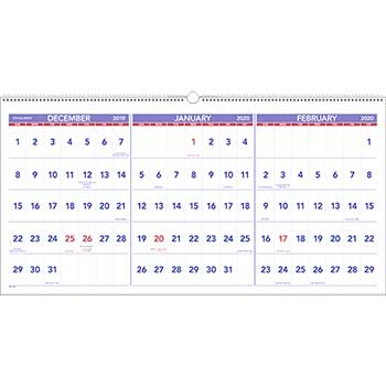 AT-A-GLANCE® Horizontal-Format Three-Month Reference Wall Calendar, 23 1/2 x 12, 2019-2021