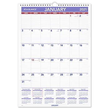 """AT-A-GLANCE® Monthly Wall Calendar with Ruled Daily Blocks, 12"""" x 17"""", White, 2021"""
