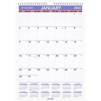 """AT-A-GLANCE® Monthly Wall Calendar with Ruled Daily Blocks, 12"""" x 17"""", White, 2022"""