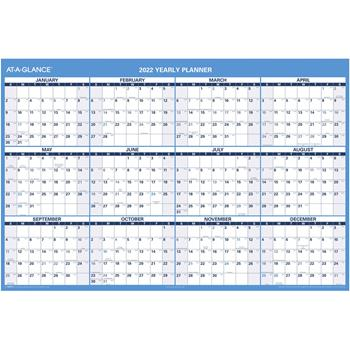 """AT-A-GLANCE® Horizontal Erasable Wall Planner, 48"""" x 32"""", Blue/White, 2022"""
