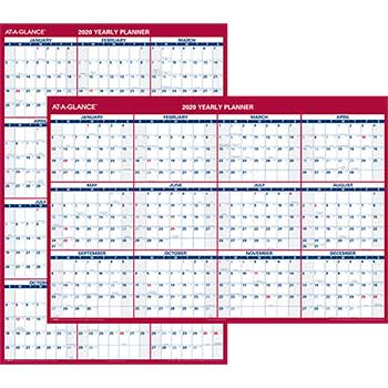 Erasable Vertical/Horizontal Wall Planner, 32 x 48, Blue/Red, 2020