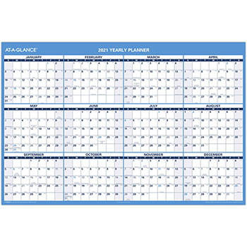 """AT-A-GLANCE® Erasable Vertical/Horizontal Wall Planner, 32"""" x 48"""", Blue/Red, 2021"""