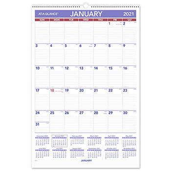 "AT-A-GLANCE® Monthly Wall Calendar with Ruled Daily Blocks, 15 1/2"" x 22 3/4"", White, 2021"