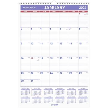 """AT-A-GLANCE® Monthly Wall Calendar with Ruled Daily Blocks, 15 1/2"""" x 22 3/4"""", White, 2022"""