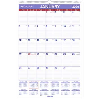 Monthly Wall Calendar with Ruled Daily Blocks, 20 x 30, White, 2020