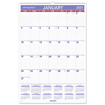 """AT-A-GLANCE® Monthly Wall Calendar with Ruled Daily Blocks, 20"""" x 30"""", White, 2021"""