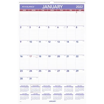 """AT-A-GLANCE® Monthly Wall Calendar with Ruled Daily Blocks, 20"""" x 30"""", White, 2022"""