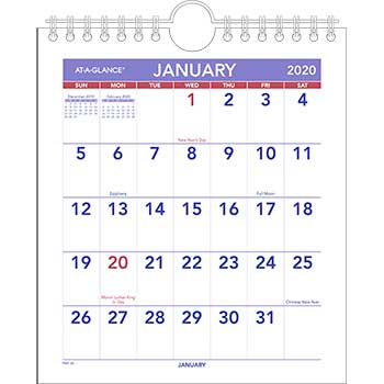 Mini Monthly Wall Calendar, 6 1/2 x 7 1/2, White, 2020
