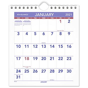 "Mini Monthly Wall Calendar, 6 1/2"" x 7 1/2"", White, 2021"
