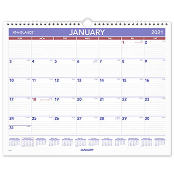 """AT-A-GLANCE® Monthly Wall Calendar, 15"""" x 12"""", Red/Blue, 2021"""