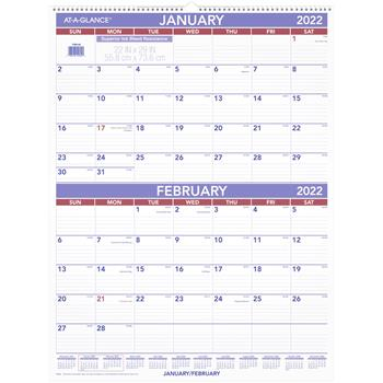 """AT-A-GLANCE® Two-Month Wall Calendar, 22"""" x 29"""", 2022"""