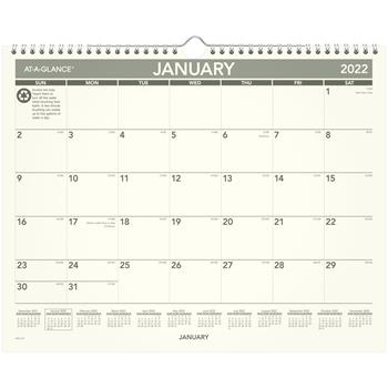 """AT-A-GLANCE® Recycled Wall Calendar, 15"""" x 12"""", 2022"""