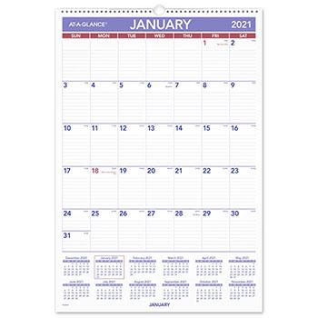 """AT-A-GLANCE® Erasable Wall Calendar, 15 1/2"""" x 22 3/4"""", White, 2021"""