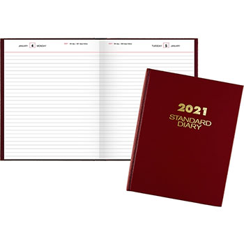 """AT-A-GLANCE® Standard Daily Diary, Recycled, Red, 7 1/2"""" x 9 7/16"""", 2021"""