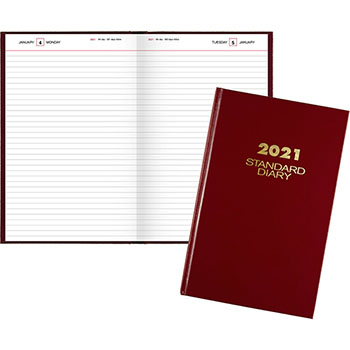 """AT-A-GLANCE® Standard Diary Daily Diary, Recycled, Red, 7 11/16"""" x 12 1/8"""", 2021"""