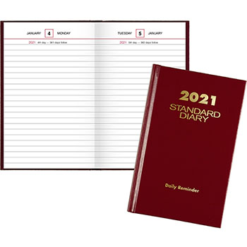 "AT-A-GLANCE® Standard Diary Recycled Daily Reminder, Red, 4 3/16"" x 6 1/2"", 2021"