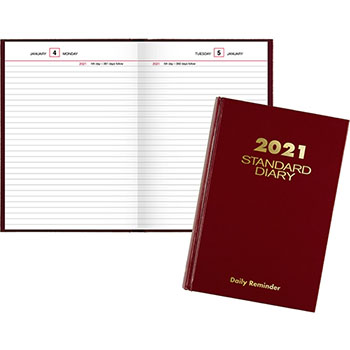"""AT-A-GLANCE® Standard Diary Recycled Daily Reminder, Red, 5 3/4"""" x 8 1/4"""", 2021"""