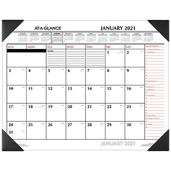 """AT-A-GLANCE® Two-Color Monthly Desk Pad Calendar, 22"""" x 17"""", 2021"""