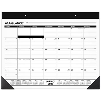 """AT-A-GLANCE® Monthly Refillable Desk Pad, 22"""" x 17"""", White, 2021"""