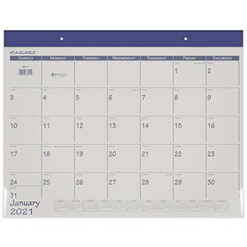 "AT-A-GLANCE® Fashion Color Desk Pad, 22"" x 17"", Blue, 2021"