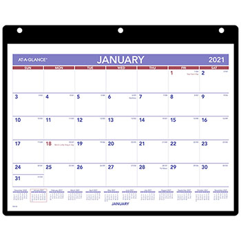 """AT-A-GLANCE® Monthly Desk/Wall Calendar, 11"""" x 8 1/4"""", White, 2021"""