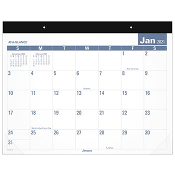 """AT-A-GLANCE® Easy-to-Read Monthly Desk Pad, 22"""" x 17"""", Easy-to-Read, 2021"""