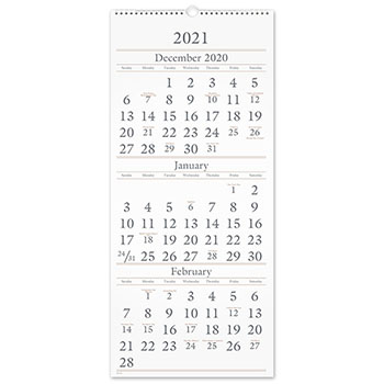 """AT-A-GLANCE® Three-Month Reference Wall Calendar, 12"""" x 27"""", 2021-2022"""